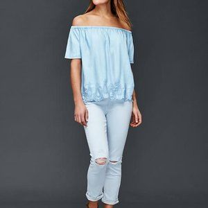 Gap Embroidered Chambray Off Shoulder Top